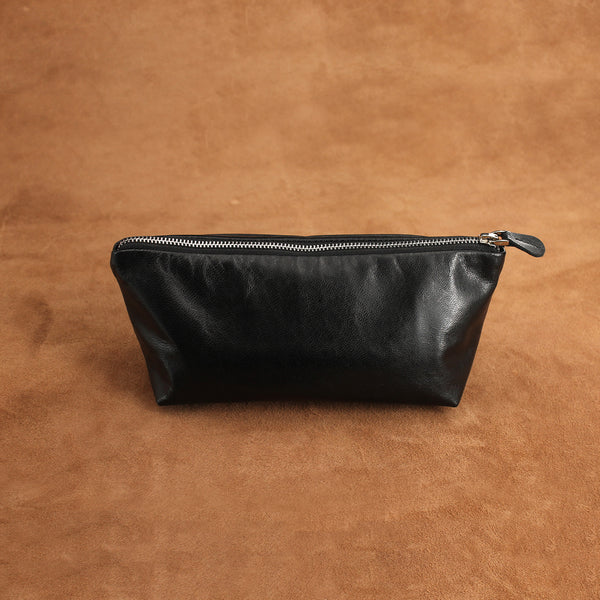 Minimal Leather Pockets Toiletry Bag