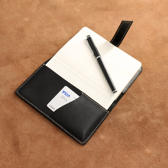 Pointed Flap Closure Refillable Leather Journal with Card Pocket