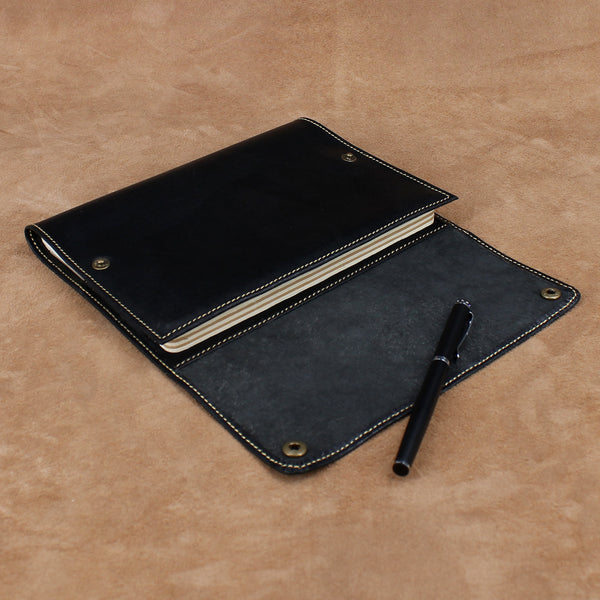 Refillable Leather Notebook Cover with Snap Button
