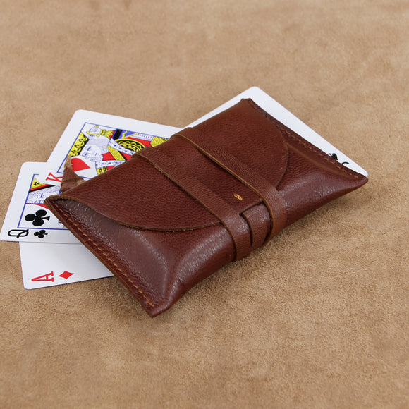 Classic Wrap Style Leather Playing Card Case