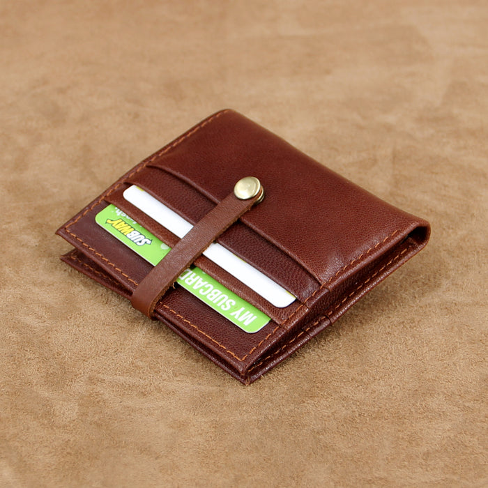 Soft Leather Mini Card Wallet with Snap Button Strap