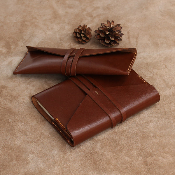 Envelope Wrap Set of Refillable Leather Journal and Pencil Case