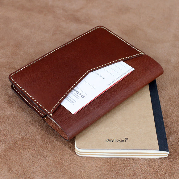 Soft Leather Refillable Journal with Back Pocket
