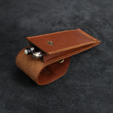 Slim Leather Pen Case with Snap Button