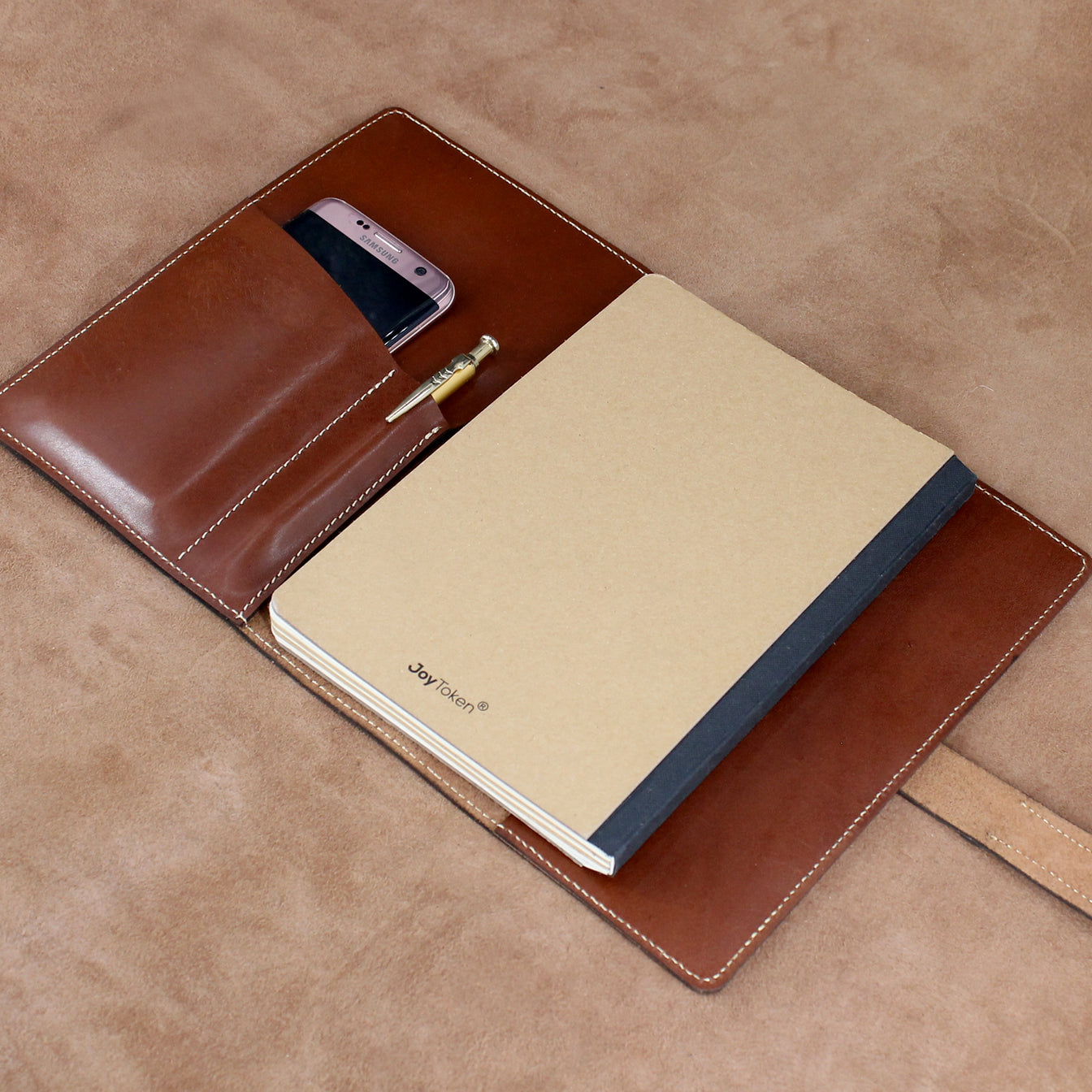 Refillable Journal with Pockets for Mobile Phone and Pen