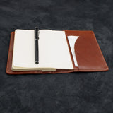 A6 Soft Leather Notebook Cover with Pen Pocket and Card Slots