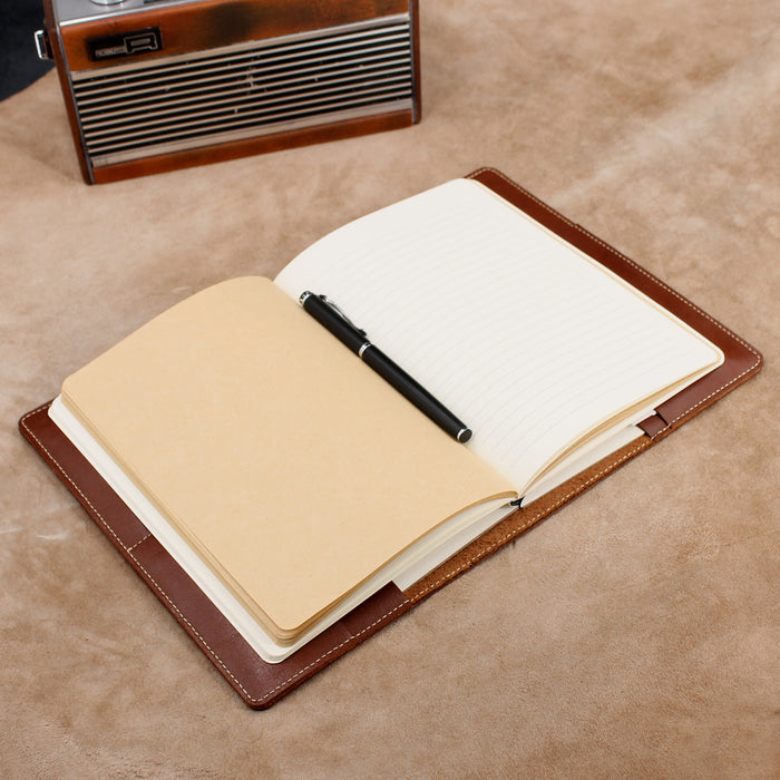 Refillable Leather Journal with 2 Card Holders and Sleeve