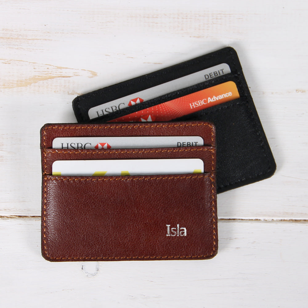 Soft Leather Card Holder with 5 Slots