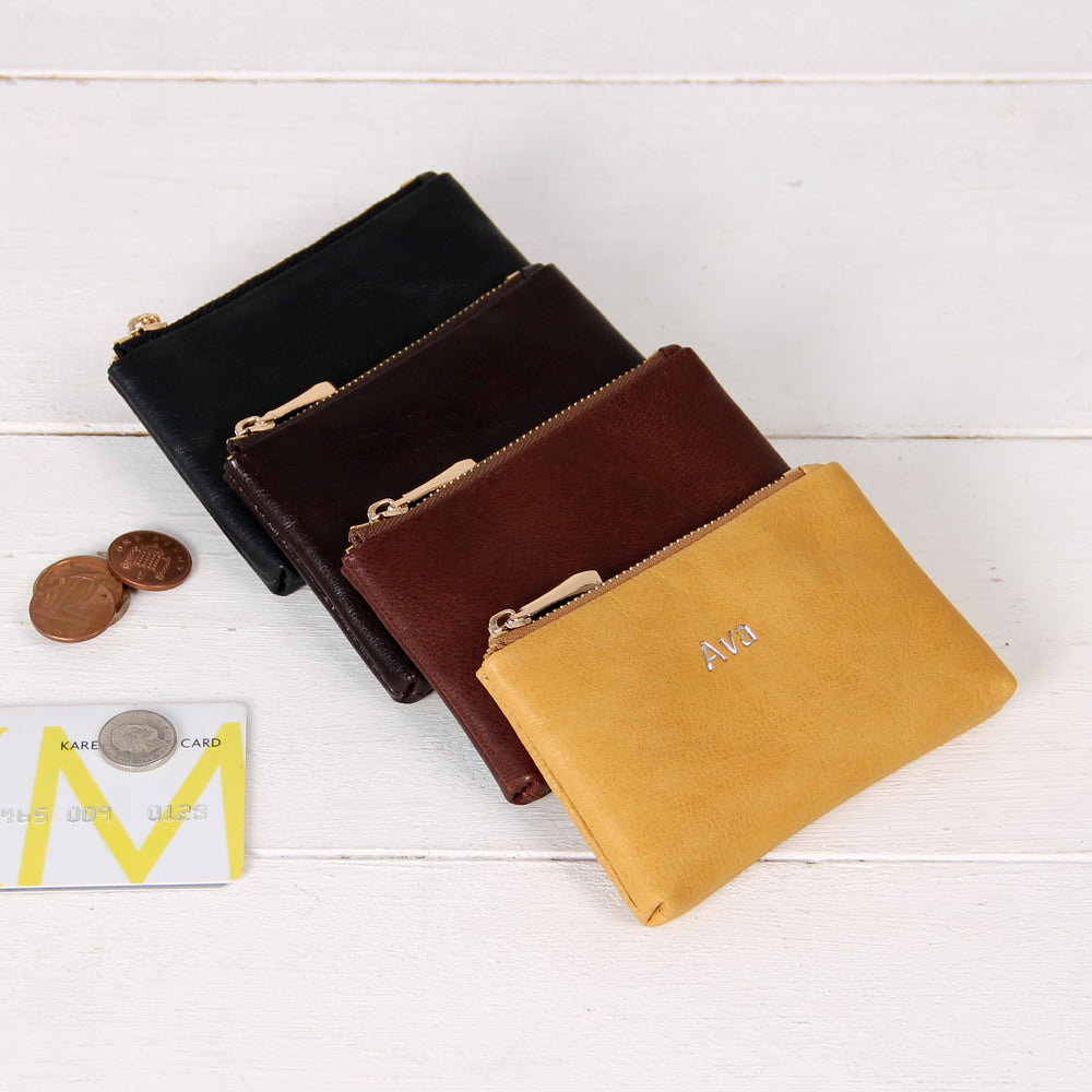 Personalised Leather Coin Pouch Credit Card Holders