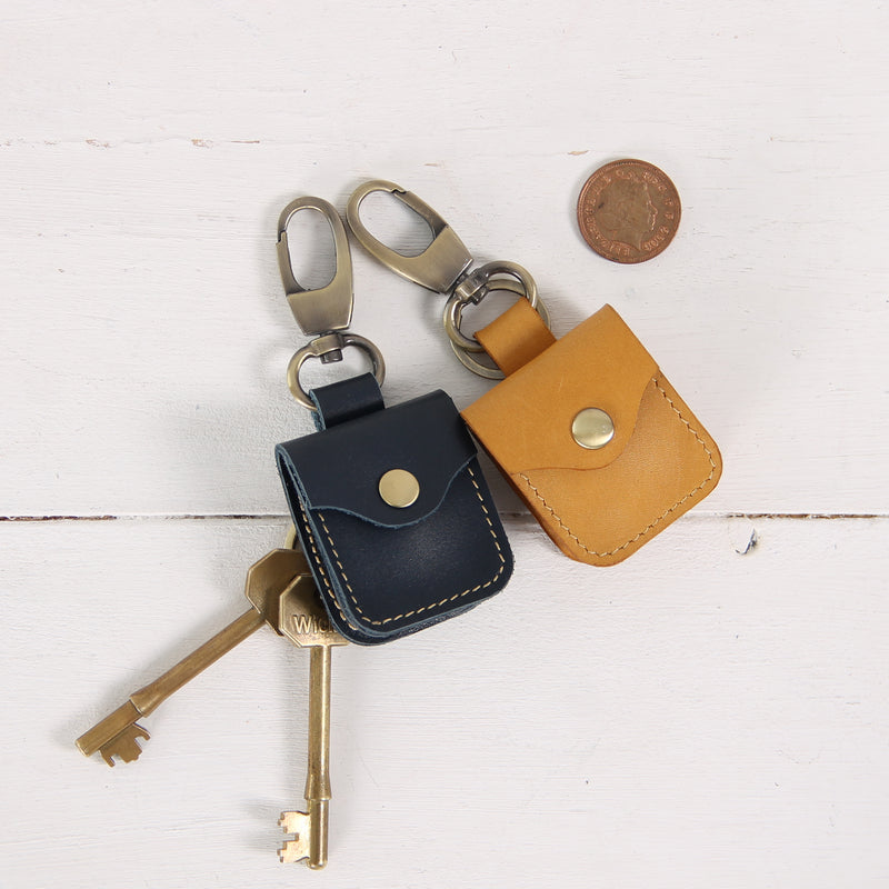 Minimal Leather Coin Purse Keychain