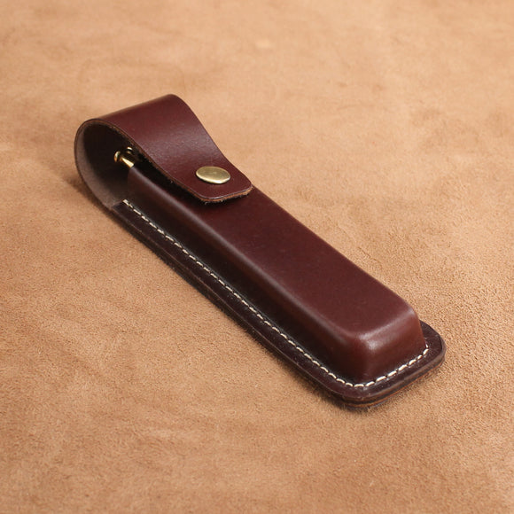 Leather Double Pen Case with Snap Button