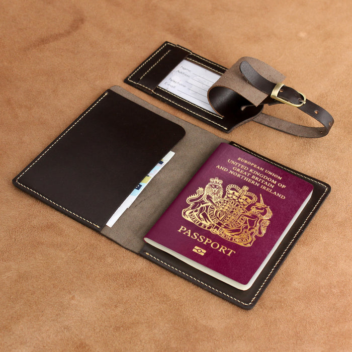 Leather Passport Holder and Luggage Tag Set