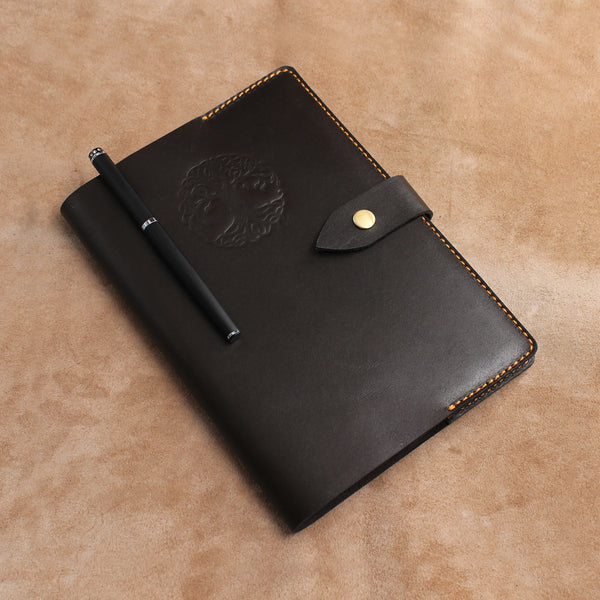 Snap Button Set of Refillable Leather Journal and Pencil Case