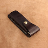 Leather Triple Pen Case with Snap Button