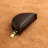 Leather Round Zippered Coin Pouch