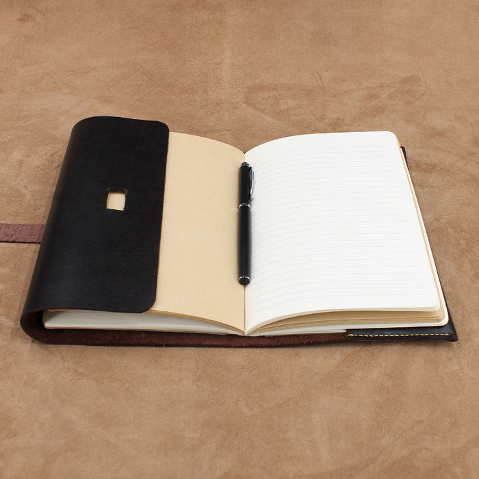Foldover Leather Journal Cover with Flap Closure