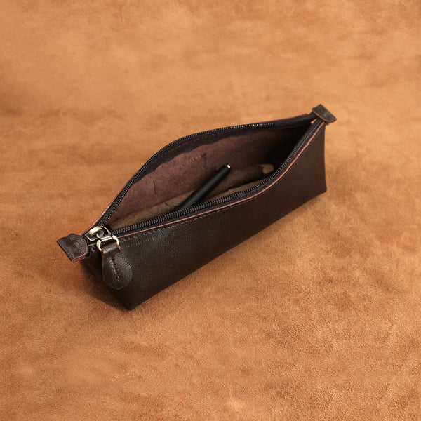 Triangle Style Leather Pencil Case