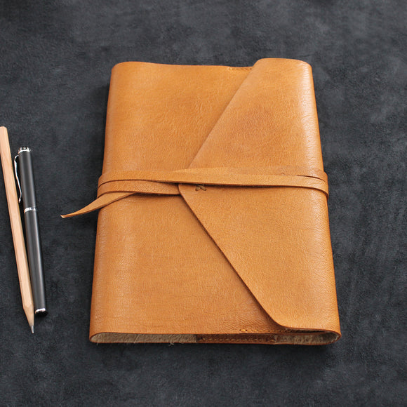 Envelope Wrap Refillable Leather Journal Goatskin