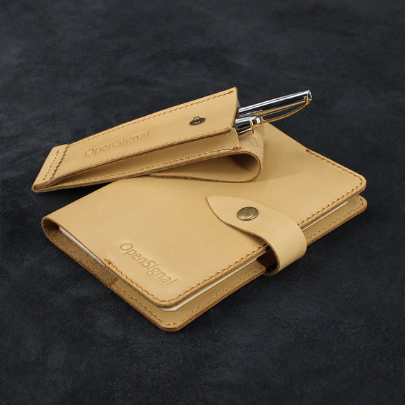 Snap Button Set of Refillable Leather Journal and Pen Case