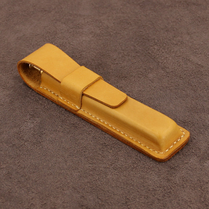 Leather Single Pen Case with Flap Fastener