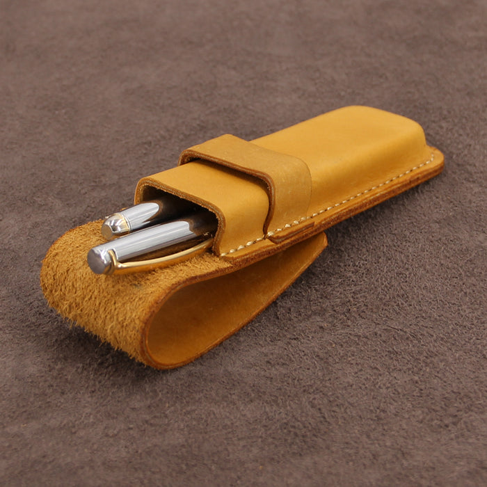 Leather Double Pen Case with Flap Fastener
