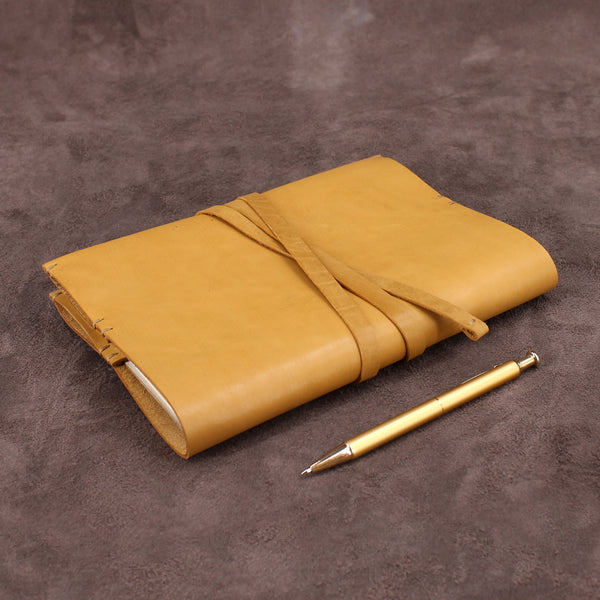 Vintage Handmade Leather Journal with Wrap Around Strap
