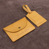 Travel Set of Leather Document Holder and Luggage Tag