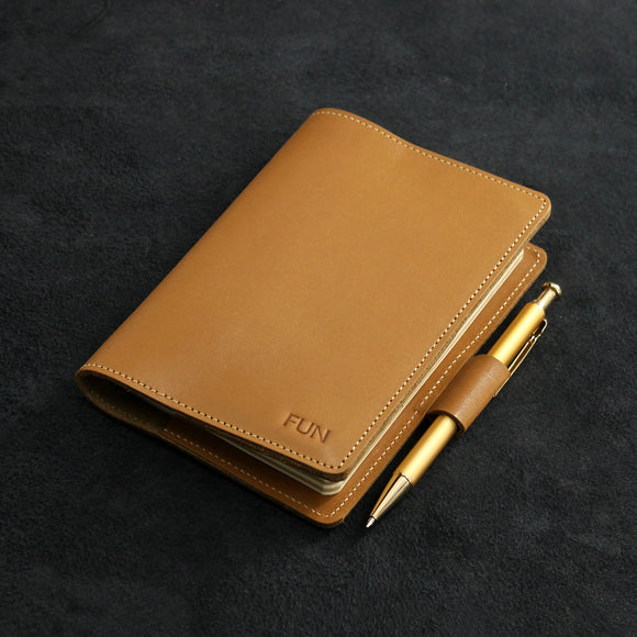 Refillable Leather Journal with Side Pocket and Pen Loop