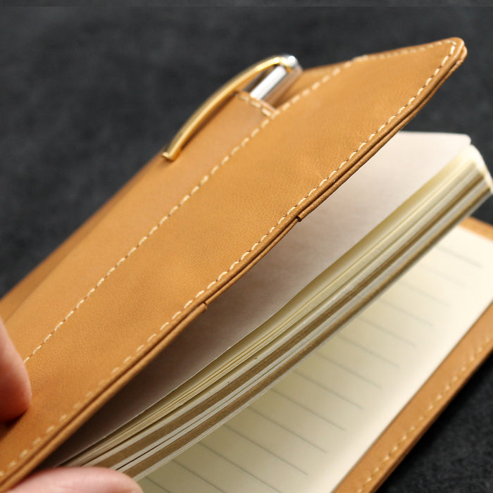 Soft Leather Refillable Journal with Frontal Pen Pocket