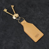 Leather Luggage Tag Monogrammed Keyring