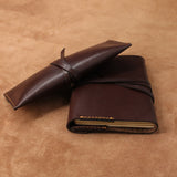 Refillable Leather Journal A6 and Pencil Case Envelope Wrap Style Set