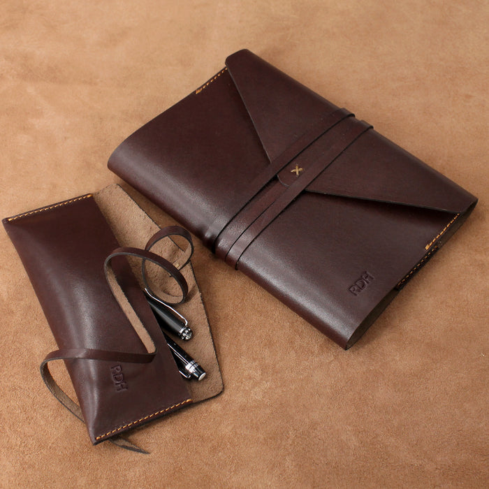 Refillable Leather Journal and Pencil Case Envelope Wrap Style Set