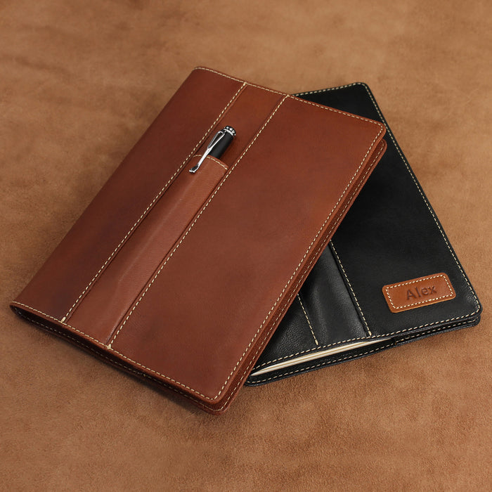 Soft Leather Refillable Journal with Frontal Pen Pocket (A5)