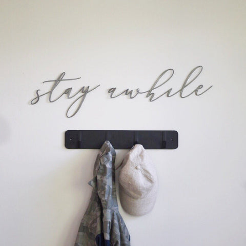 Stay Awhile Script Wall Decor