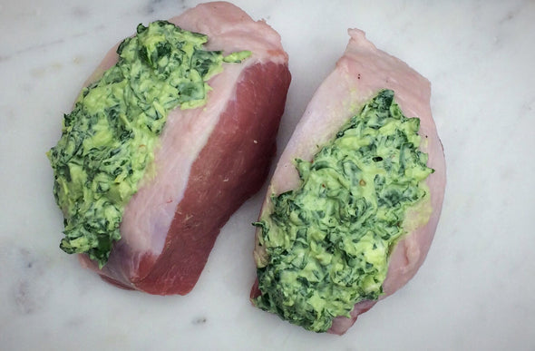 Spinach and Artichoke Stuffed Pork Chop