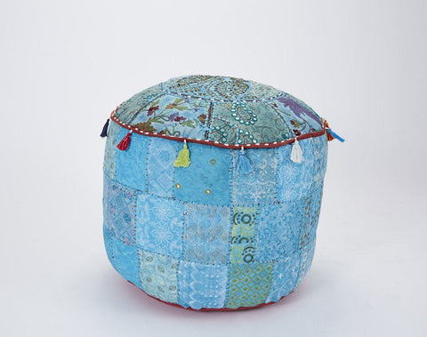 Large Patchwork Round Pouffe