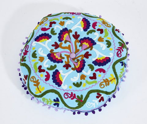 Embroidered Suzani Round Padded Floor Cushion.