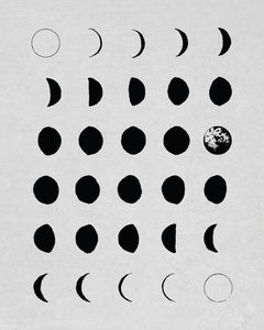 Moon Phases in White