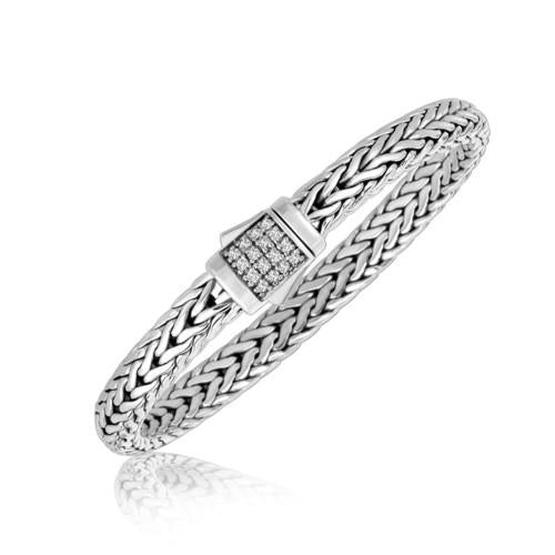 Sterling Silver Braided Style Men's Bracelet with White Sapphire Stones, size 8.25''