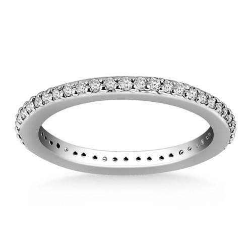 14K White Gold Round Diamond Eternity Ring, size 8