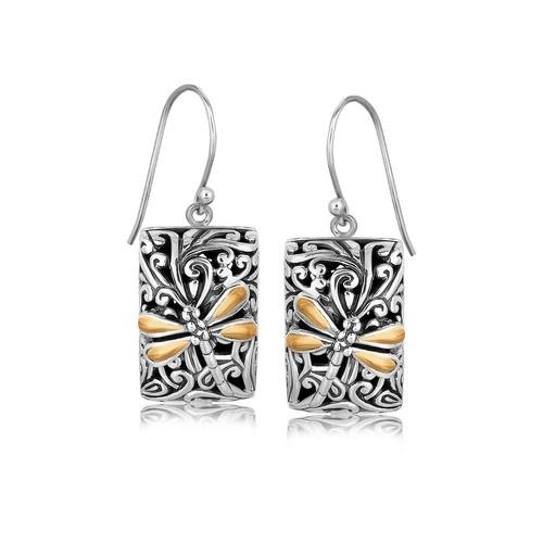 18k Yellow Gold and Sterling Silver Dragonfly Designed Rectangular Drop Earrings