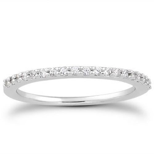 14k White Gold Slim Profile Diamond Micro Prong Diamond Wedding Ring Band, size 9