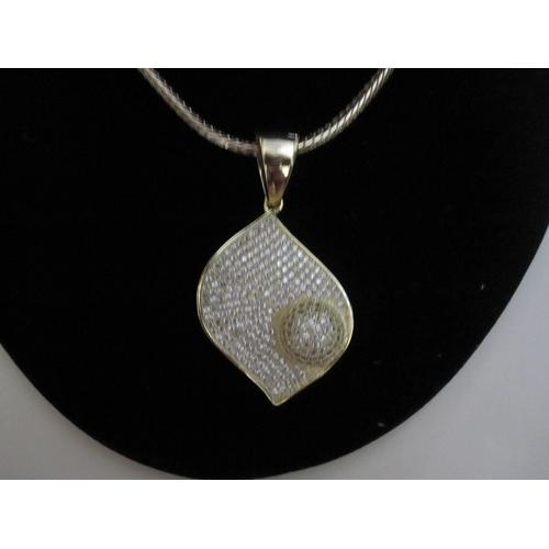 "Micropave Pendant with Necklace Gold Electroplated 16"" + 2"" Extension"