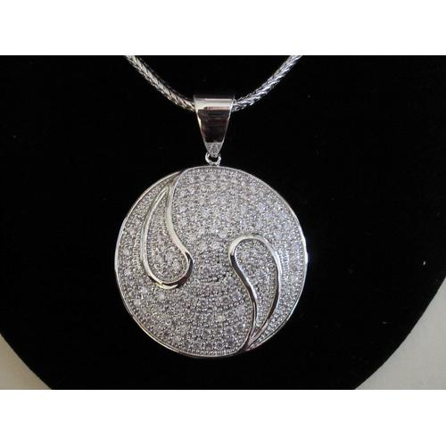"Micropave Pendant with Necklace Rhodium Plated 16"" + 2"" Extension"
