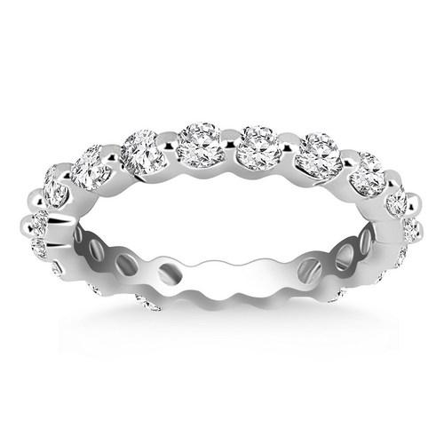 14K White Gold Common Prong Round Cut Diamond Eternity Ring, size 5