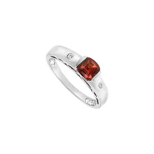 Garnet and Diamond Ring : 14K White Gold - 1.00 CT TGW