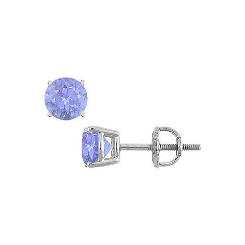 14K White Gold : Prong Set Tanzanite Stud Earrings 0.25 CT TGW
