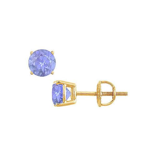 14K Yellow Gold : Prong Set Tanzanite Stud Earrings 1.00 CT TGW