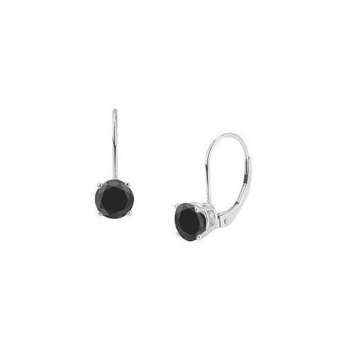 14K White Gold : Round Black Diamond Stud Earrings  1.50 CT. TW