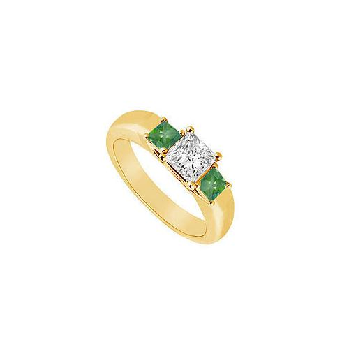 Three Stone Diamond and Emerald Ring : 14K Yellow Gold - 0.33 CT TGW